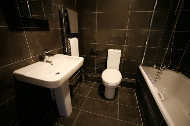 planning a bathroom installation for sinks, toilet and shower and bath